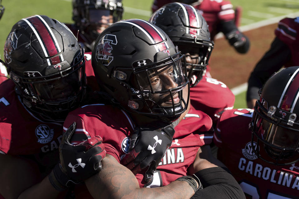 FILE - South Carolina defensive back Jaycee Horn (1) celebrates his second interception during the second half of an NCAA college football game against Auburn in Columbia, S.C., in this Saturday, Oct. 17, 2020, file photo. Horn is a possible pick in the NFL Draft, April 29-May 1, 2021, in Cleveland. (AP Photo/Sean Rayford, File)