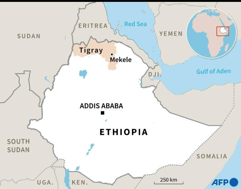 Map of Ethiopia locating Tigray region