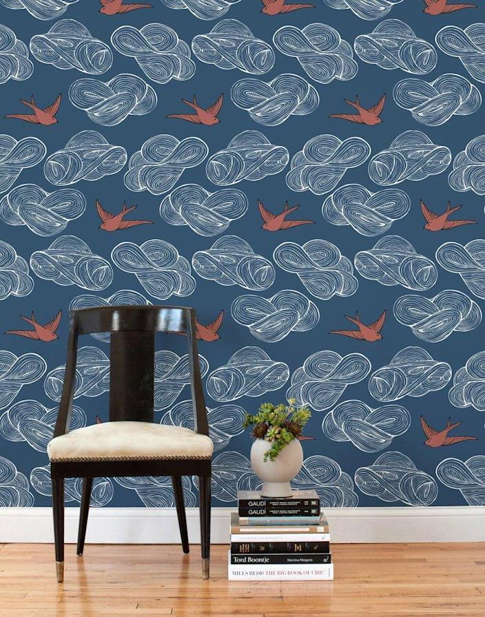 Hygge & West's Storyline removable wallpaper in blue.