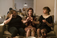 """This image released by Sony Pictures Classics shows, from left, Danielle Macdonald, Valerie Mahaffey and Imogen Poots in a scene from """"French Exit."""" (Jerome Prebois/Sony Pictures Classics via AP)"""