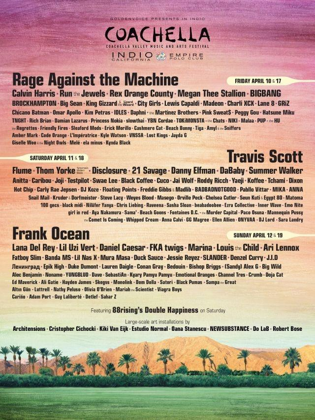 Travis Scott, Frank Ocean and Rage Against the Machine to headline Coachella 2020