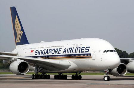 A Singapore Airlines' A380 fitted with newly launched cabin products arrives at Changi Airport in Singapore on December 14, 2017. PHOTO: Reuters