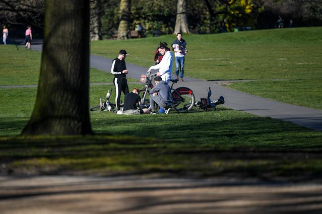A group in Greenwich Park in London as figures show young people hit hardest by declining work in the coronavirus crisus. (Peter Summers/Getty Images)