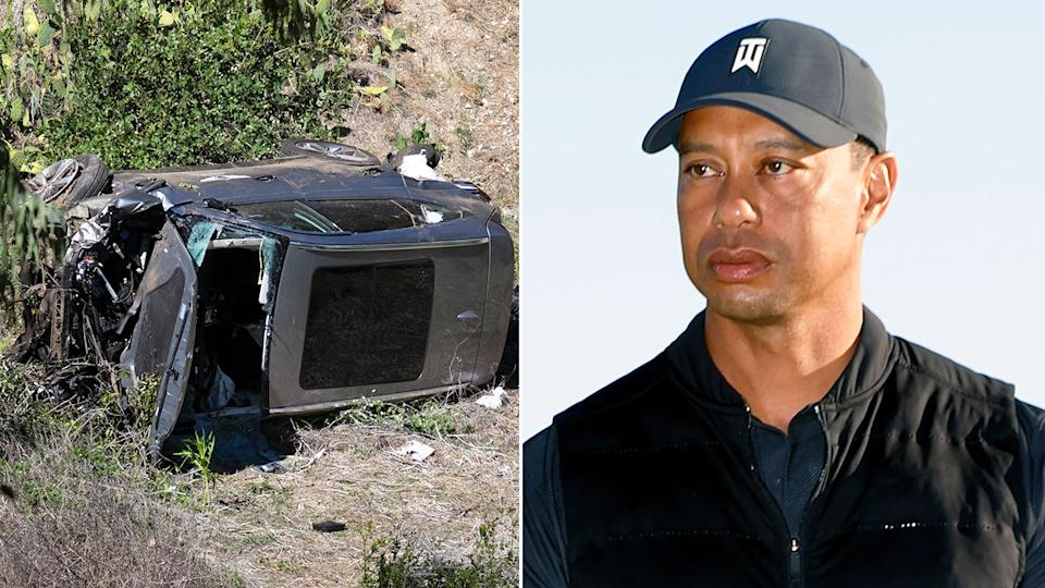 Tiger Woods is pictured here alongside his totalled car.
