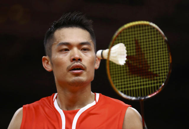 <p>Lin Dan of China eyes the shuttlecock during play against Srikanth Kidambi of India in the men's singles quarterfinals on August 17, 2016. (REUTERS/Mike Blake) </p>