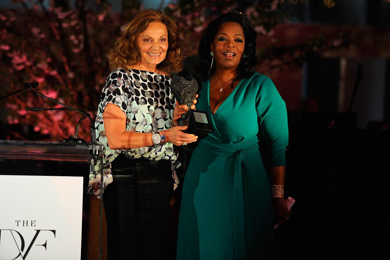 NEW YORK, NY - MARCH 09:  Designer Diane von Furstenberg and Oprah Winfrey speaks onstage at the 3rd annual Diane Von Furstenberg awards at the United Nations on March 9, 2012 in New York City.  (Photo by Andrew H. Walker/Getty Images)