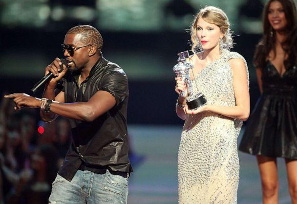 PHOTO: Kanye West jumps onstage after Taylor Swift won the 'Best Female Video' award during the 2009 MTV Video Music Awards at Radio City Music Hall on September 13, 2009 in New York City. (Christopher Polk/Getty Images)