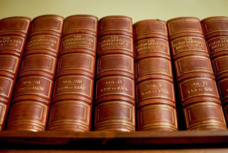 <p>AKA the first Google (seriously). Since the super search website wasn't invented until 1998, these leather bound books were the source of all of life's hardest questions. Sounds like a lot of work, right kids?</p>