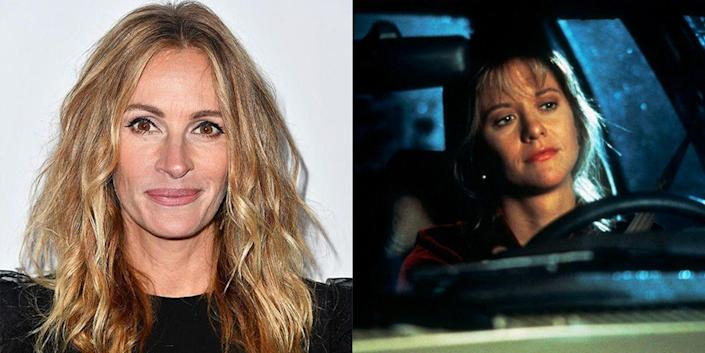 """<p>Julia Roberts is no stranger to romantic comedies, but in 1993 she <a href=""""https://abcnews.go.com/Entertainment/julia-roberts-passed-sleepless-seattle/story?id=24934295"""" rel=""""nofollow noopener"""" target=""""_blank"""" data-ylk=""""slk:turned down the chance"""" class=""""link rapid-noclick-resp"""">turned down the chance</a> to be a part of <em>Sleepless in Seattle</em>—arguably one of the genre's greatest films. Instead, another rom-com alum, Meg Ryan, took the role. </p>"""