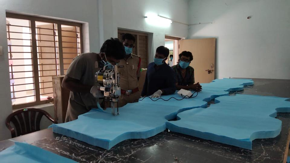 Cutters in the 1M1B tailoring unit in Lakkavaram village