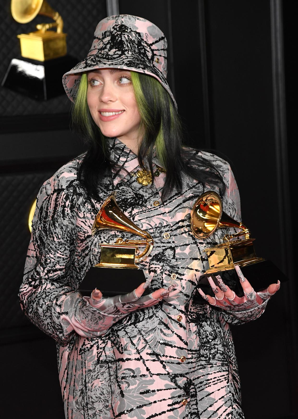 Billie Eilish, seen here at the 63rd Annual GRAMMY Awards in March, is being called out for