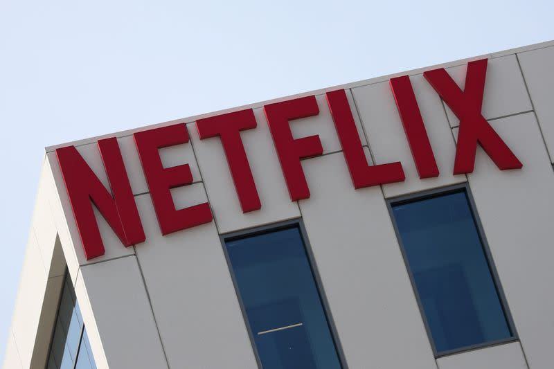 FILE PHOTO: The Netflix logo is seen on their office building in Hollywood, Los Angeles