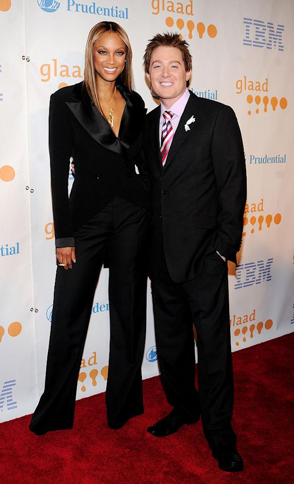 """Tyra Banks and Clay Aiken struck a pose at the GLAAD Media Awards in NYC, where the """"American Idol"""" runner-up presented the talk show host with the Excellence in Media trophy. George Napolitano/<a href=""""http://filmmagic.com/"""" target=""""new"""">FilmMagic.com</a> - March 28, 2009"""