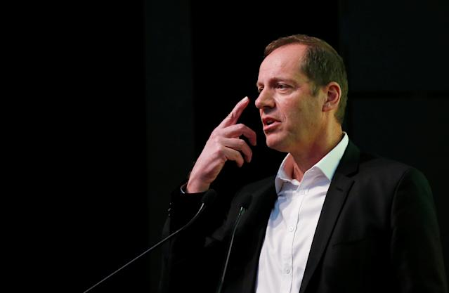 Tour de France director Christian Prudhomme speaks during the presentation of the Grand Depart of the 2019 Tour de France cycling race in Brussels, Belgium, January 16, 2018. REUTERS/Francois Lenoir