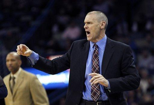 Dallas Mavericks head coach Rick Carlisle calls out to his team in the first half of an NBA basketball game against the New Orleans Hornets in New Orleans, Friday, Feb. 22, 2013. (AP Photo/Gerald Herbert)