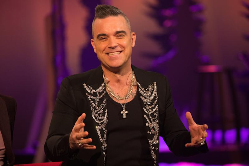 Robbie Williams during the filming for the Graham Norton Show at BBC Studioworks 6 Television Centre, Wood Lane, London, to be aired on BBC One on Friday evening. (Photo by David Parry/PA Images via Getty Images)
