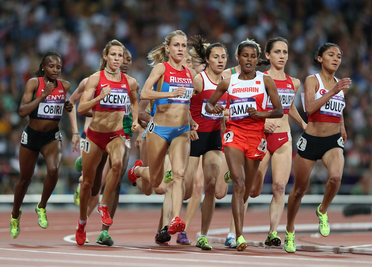 LONDON, ENGLAND - AUGUST 10:  (L-R) Hellen Onsando Obiri of Kenya, Morgan Uceny of the United States, Ekaterina Kostetskaya of Russia, Maryam Yusuf Jamal of Bahrain and Gamze Bulut of Turkey compete in the Women's 1500m Final on Day 14 of the London 2012 Olympic Games at Olympic Stadium on August 10, 2012 in London, England.  (Photo by Clive Brunskill/Getty Images)