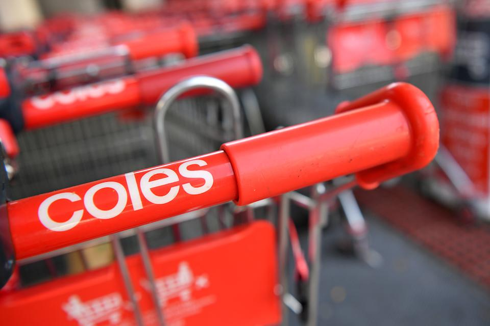 Photo shows several Coles trolleys. Source: AAP