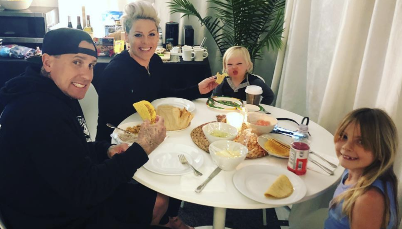 Carey Hart and Pink with their children, Jameson and Willow. (Screenshot: Pink via Instagram)