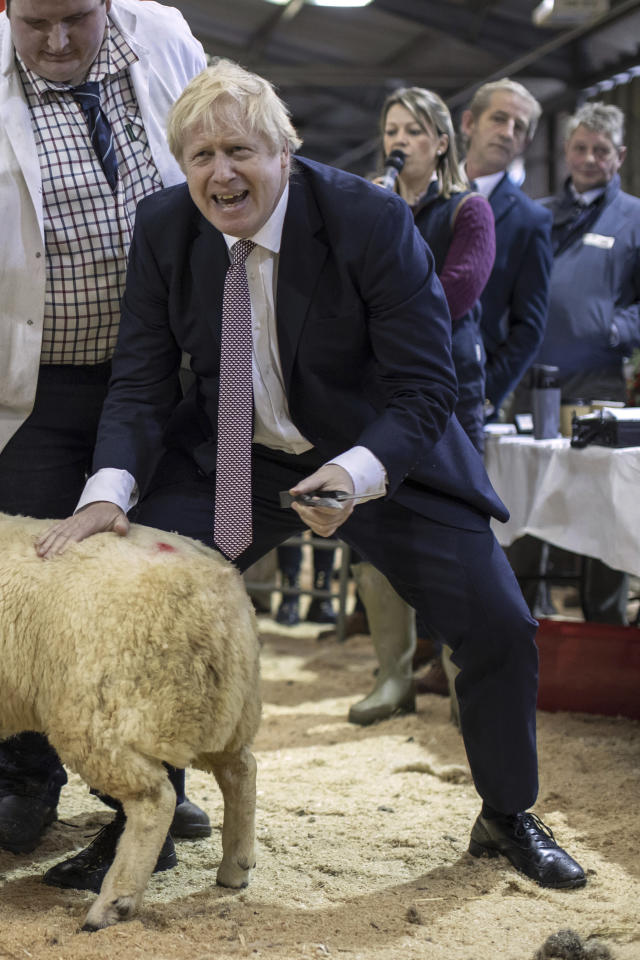 Boris Johnson on the campaign trail in Llanelwedd, Wales, on Monday (Dan Kitwood/pool via AP)