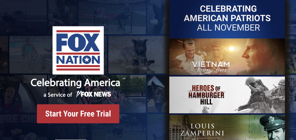 A screenshot of Fox Networks subscription service Fox Nation.