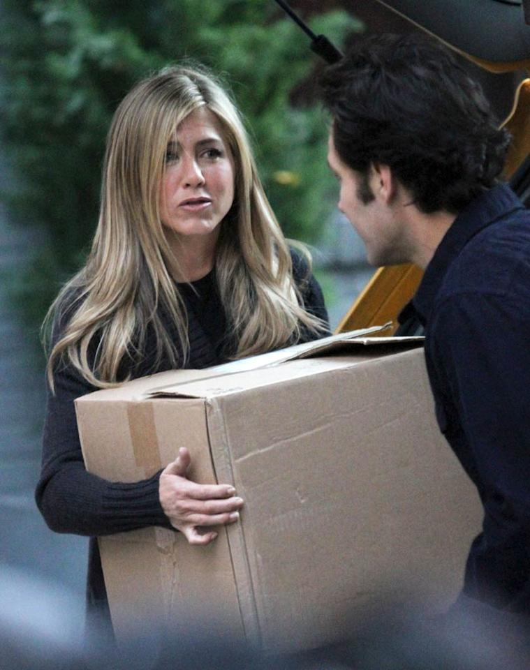 """<i>Us Weekly</i> reports, """"Jennifer Aniston Demands Her Space on Set."""" According to the magazine, while shooting the upcoming film, """"Wanderlust,"""" """"It was an unspoken thing that you couldn't get within 20 feet of Jennifer."""" <i>Us</i> adds, """"She surrounded herself with a ring of buffers"""" to keep the crew away from her, and """"traveled with them from her trailer to the set and back."""" For how tense an atmosphere Aniston created, log on to <a href=""""http://www.gossipcop.com/jennifer-aniston-20-feet-foot-distance-wanderlust/"""" target=""""new"""">Gossip Cop</a>. Richie Buxo/<a href=""""http://www.splashnewsonline.com"""" target=""""new"""">Splash News</a> - November 19, 2010"""