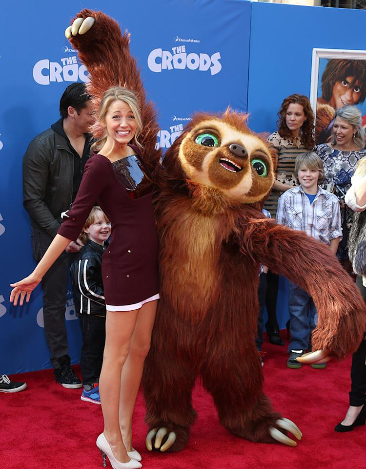 "NEW YORK, NY - MARCH 10:  Actress Blake Lively attends ""The Croods"" premiere at AMC Loews Lincoln Square 13 theater on March 10, 2013 in New York City.  (Photo by Neilson Barnard/Getty Images)"