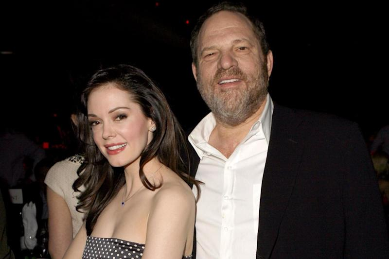 Accused: Harvey Weinstein with actress Rose McGowan (Getty Images)