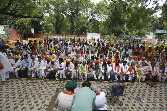 Indian farmers hold a mock parliament as a mark of protest, in New Delhi, India, Thursday, July 22, 2021. More than 200 farmers on Thursday began a protest near India's Parliament to mark eight months of their agitation against new agricultural laws that they say will devastate their income. (AP Photo)