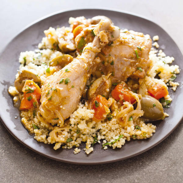 """This undated photo provided by America's Test Kitchen in April 2019 shows Chicken Tagine with Olives and Lemon in Brookline, Mass. This recipe appears in the cookbook """"How to Braise Everything."""" (Carl Tremblay/America's Test Kitchen via AP)"""