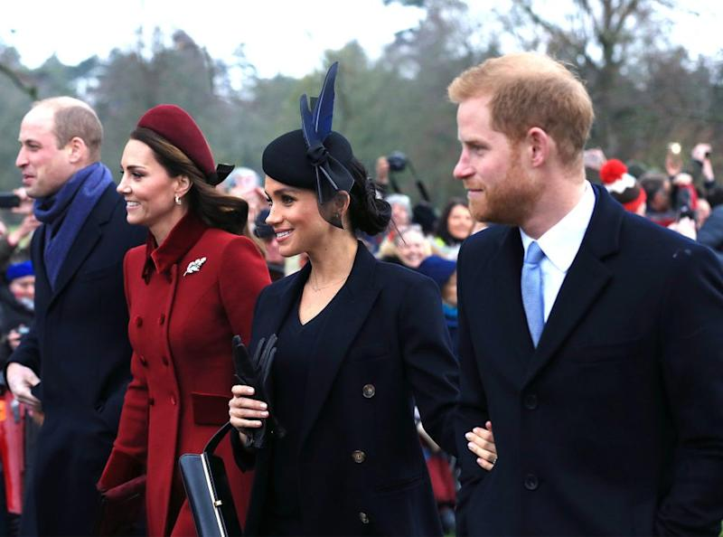Prince William, Kate Middleton, Meghan Markle and Prince Harry on Christmas 2018 | Stephen Pond/Getty