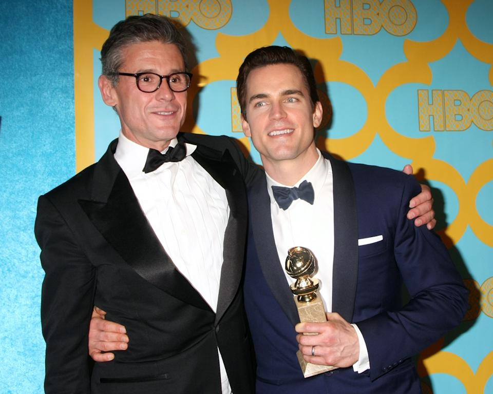 Simon Halls and Matt Bomer at the HBO Post Golden Globe Party