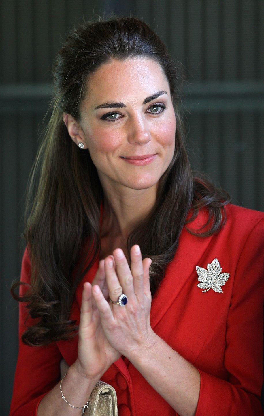 <p>The royals are known to dress diplomatically while visiting other countries. For example, Kate incorporated her trusty diamond maple leaf brooch on a visit to Canada. </p>