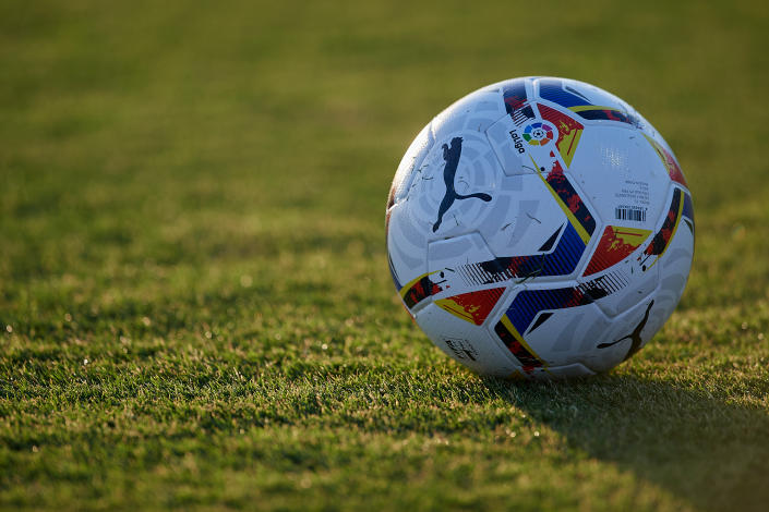 The new Puma ball for the season during the pre-season friendly match between Villarreal CF and Tenerife at Pinatar Arena on August 25, 2020 in Murcia, Spain. (Photo by Jose Breton/Pics Action/NurPhoto via Getty Images)