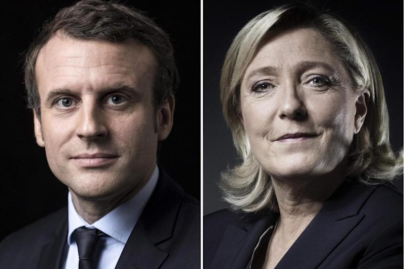 Head-to-head: Emmanuel Macron will meet Marine Le Pen in the runoff. (AFP/Getty Images)