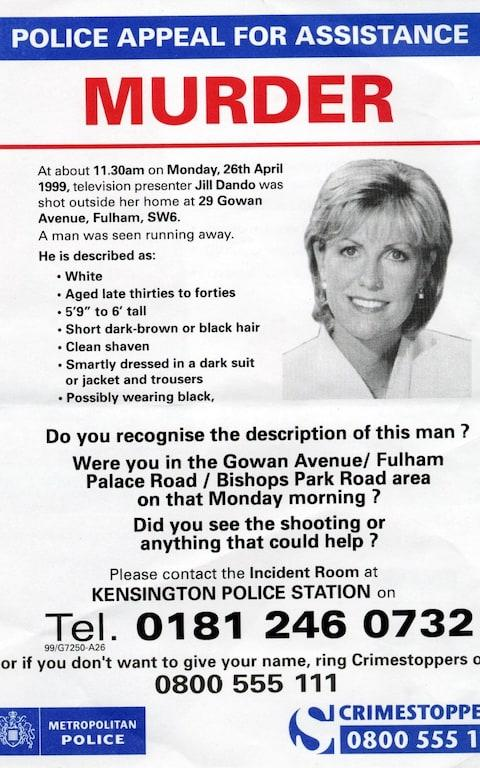 This leaflet was handed-out to Fulham residents in an effort to uncover new information concerning the murder of Jill Dando - Credit: PA Images/PA Archive