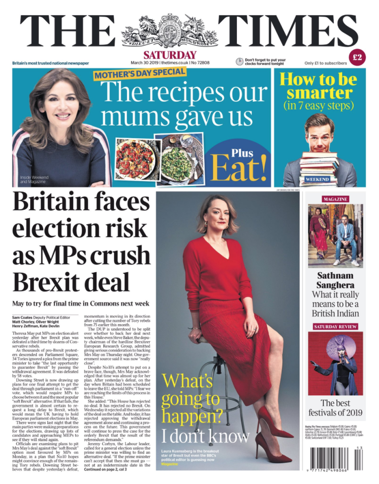 "<p>The Times says the third rejection means a delay to Brexit and a new leader are needed to give time for the country to find a way out of the impasse.<br />""Mrs May should now make clear that she will step down as soon as the extension is agreed and the arrangements for the European parliament elections are in place to set this process in train,"" the paper says.<br />""Having failed to deliver her deal, she is now an obstacle to finding a way out of the increasingly intractable impasse."" </p>"
