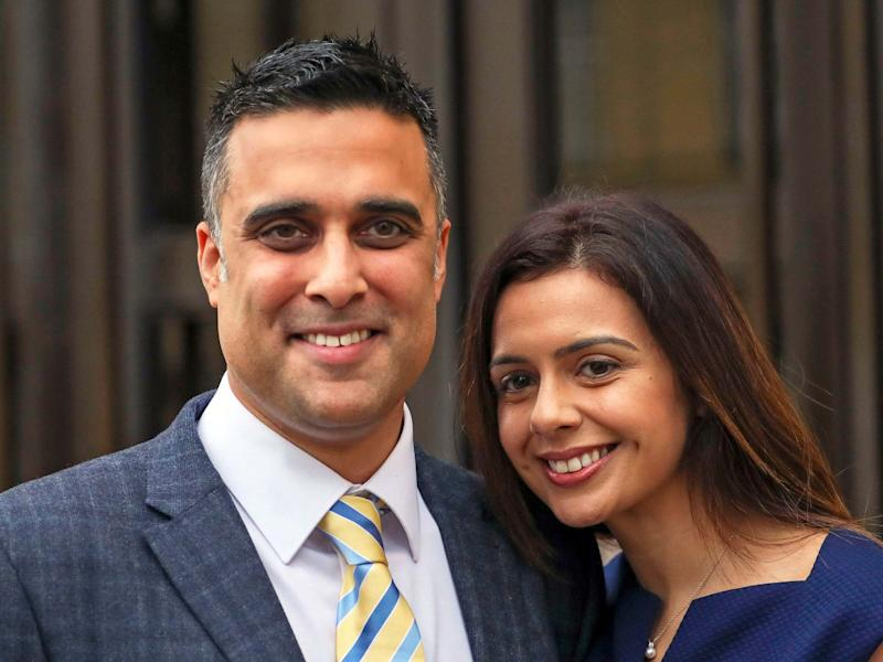 Sandeep and Reena Mander outside Oxford County Court on 6 December, 2019 after they won almost £120k in damages after a judge ruled they were discriminated against by not being allowed to adopt because of their Indian heritage: PA