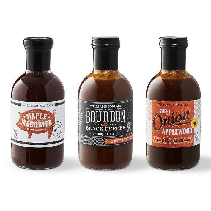 """<p>williams-sonoma.com</p><p><strong>$34.95</strong></p><p><a href=""""https://go.redirectingat.com?id=74968X1596630&url=https%3A%2F%2Fwww.williams-sonoma.com%2Fproducts%2Ftop-rated-bbq-sauce-set&sref=https%3A%2F%2Fwww.delish.com%2Fkitchen-tools%2Fcookware-reviews%2Fg4175%2Ffathers-day-grilling-gifts%2F"""" rel=""""nofollow noopener"""" target=""""_blank"""" data-ylk=""""slk:BUY NOW"""" class=""""link rapid-noclick-resp"""">BUY NOW</a></p><p>Every griller needs a collection of BBQ sauces on deck. This Williams Sonoma set comes with sweet onion, maple mesquite, and bourbon black pepper.</p>"""