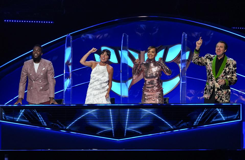 The Masked Singer judges Mo Gilligan, Davina McCall, Rita Ora and Jonathan Ross. (ITV)