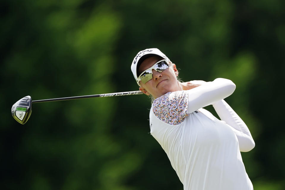 Madelene Sagstrom, of Sweden, hits from the tee on the sixth hole during the second round of play in the KPMG Women's PGA Championship golf tournament Friday, June 25, 2021, in Johns Creek, Ga. (AP Photo/John Bazemore)