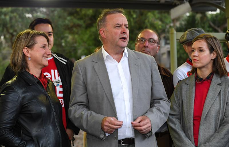 2019 Federal Election: Victorian Labor Member for Eltham Vicki Ward (left), Shadow Minister for Infrastructure Anthony Albanese (centre) and Labor candidate for Jagajaga Kate Thwaites (right) during an announcement at Montmorency Train Station in Melbourne