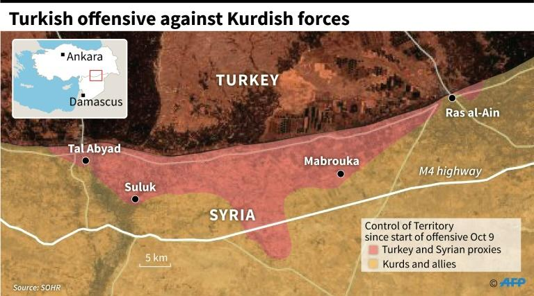 Satellite map showing areas under control by Turkey and Syria proxies in an offensive against the Kurds in northeastern Syria since October 9. (AFP Photo/Gal ROMA)