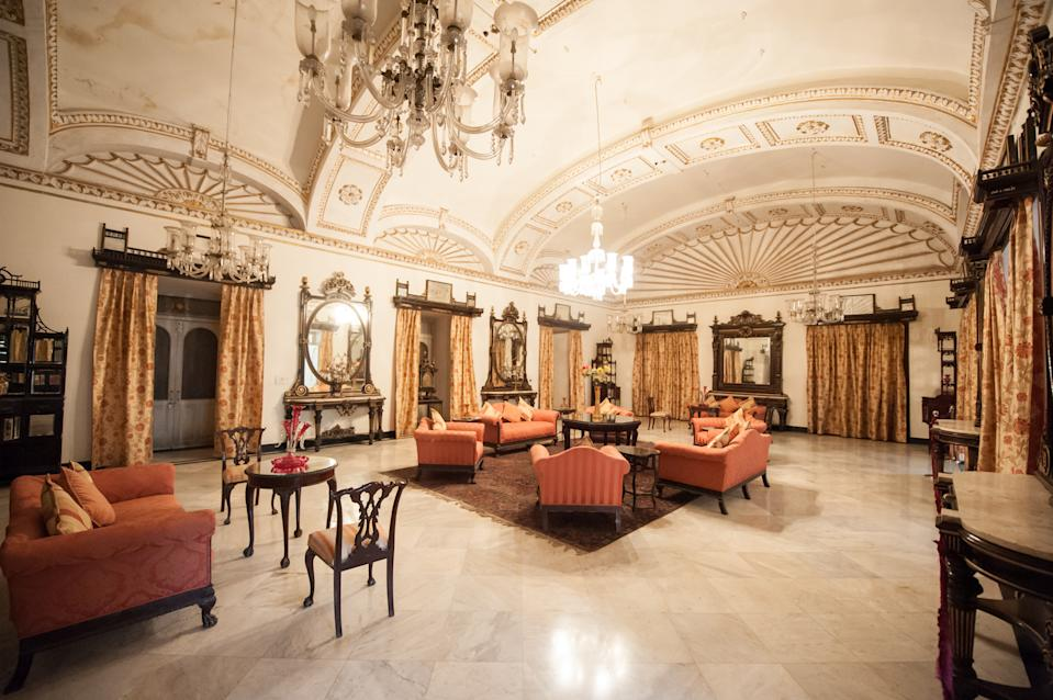 The drawing room of Jai Vilas Palace. The Jai Vilas Mahal was established in 1874 by Jayajirao Scindia, the Maharaja of Gwalior. (Photo by Atid Kiattisaksiri/LightRocket via Getty Images)