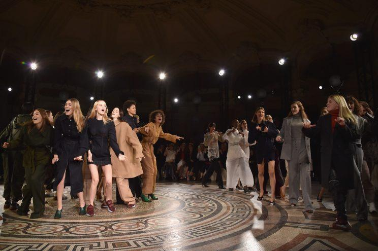 Models at the finale of the Stella McCartney Fall/Winter 2017 show in Paris, France. (Photo: Getty)