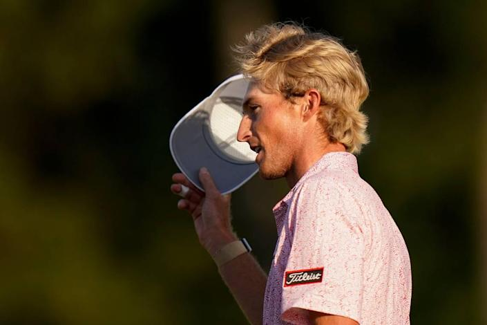 Will Zalatoris tips his cap after putting on the 18th hole during the final round of the Masters golf tournament on Sunday, April 11, 2021, in Augusta, Ga.