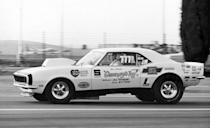 """<p>Camaros have long been among America's most-raced cars. Alongside Donohue's Camaro, legends like Bill """"Grumpy"""" Jenkins was campaigning Camaros in NHRA drag racing. Here's Grumpy's 1968 Camaro on its way to winning the very first Pro Stock title at the 1970 Winternationals.</p>"""