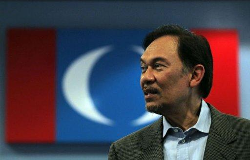Malaysian opposition leader Anwar Ibrahim visits the Pakatan Rakyat Keadilan (PKR) headquarters for a press conference in Kuala Lumpur. Anwar launched a nationwide tour ahead of a verdict in his long-running sodomy trial, to declare his innocence and campaign for a change of government