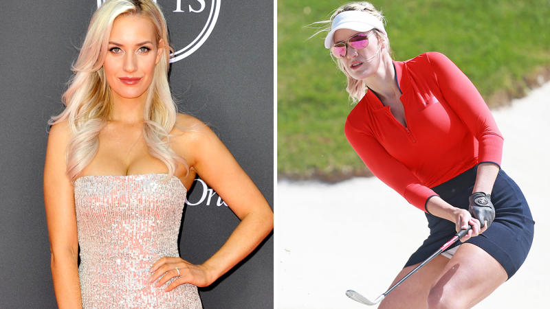 Paige Spiranac, pictured here at the 2019 ESPY Awards, and on the golf course.
