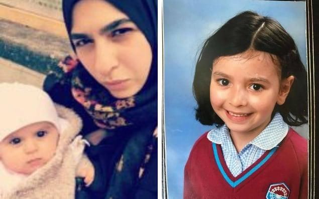 Farah Hamdan, left, is still missing along with her baby. Her two children, one of whom is pictured on the right, were found in hospital